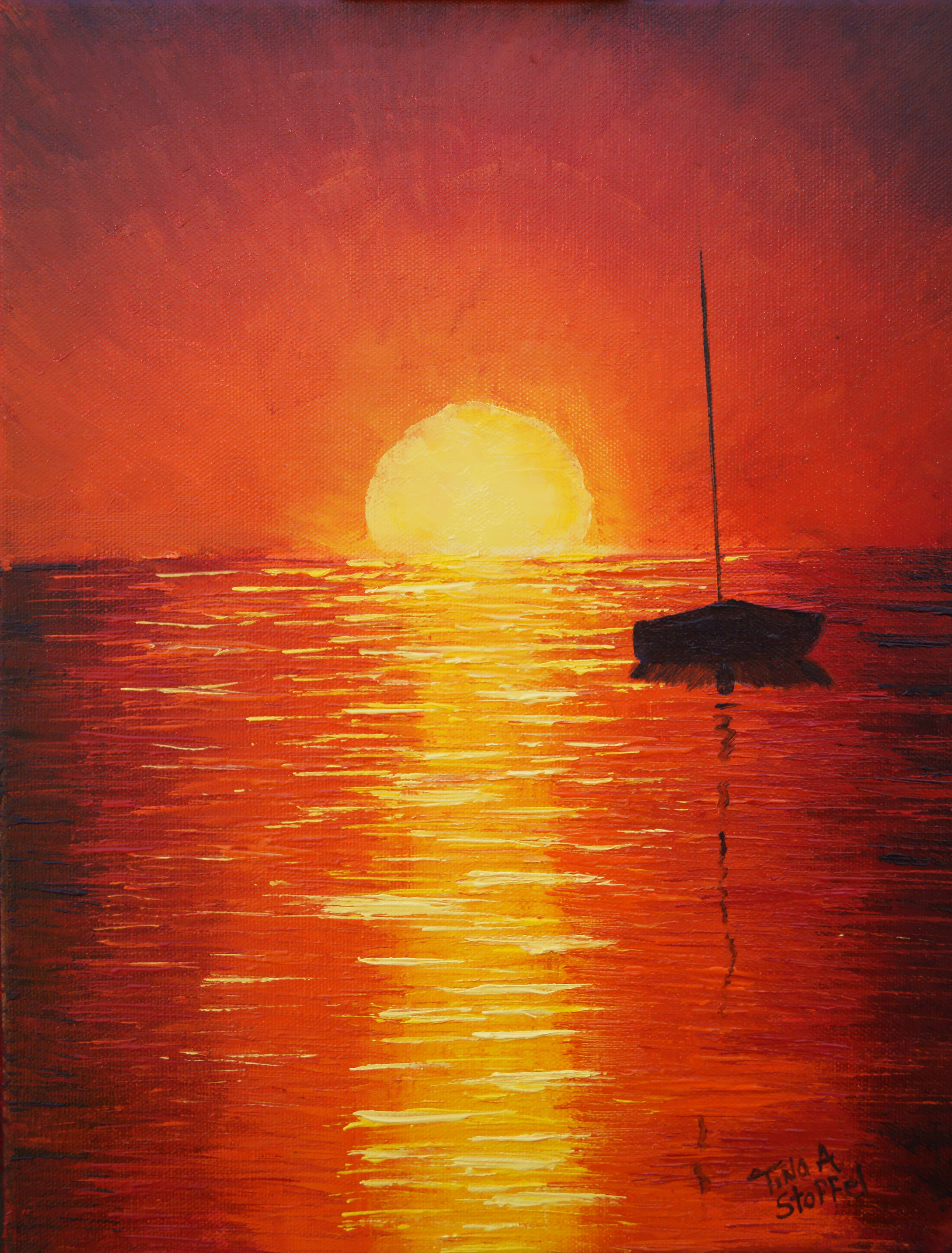 Red Sunset Sailboat Painting