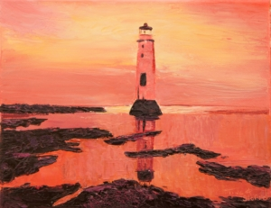 New Brighton Lighthouse Painting by Tina A Stoffel
