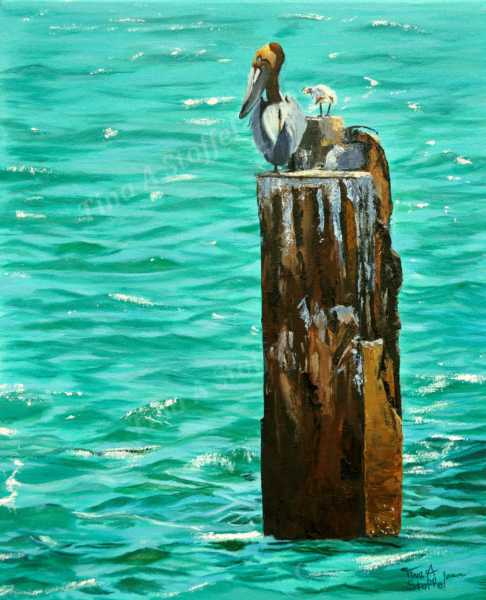Boca Birds Seascape Painting by Tina A Stoffel